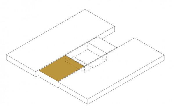 Mattress topper middle section below (option wardrobe)